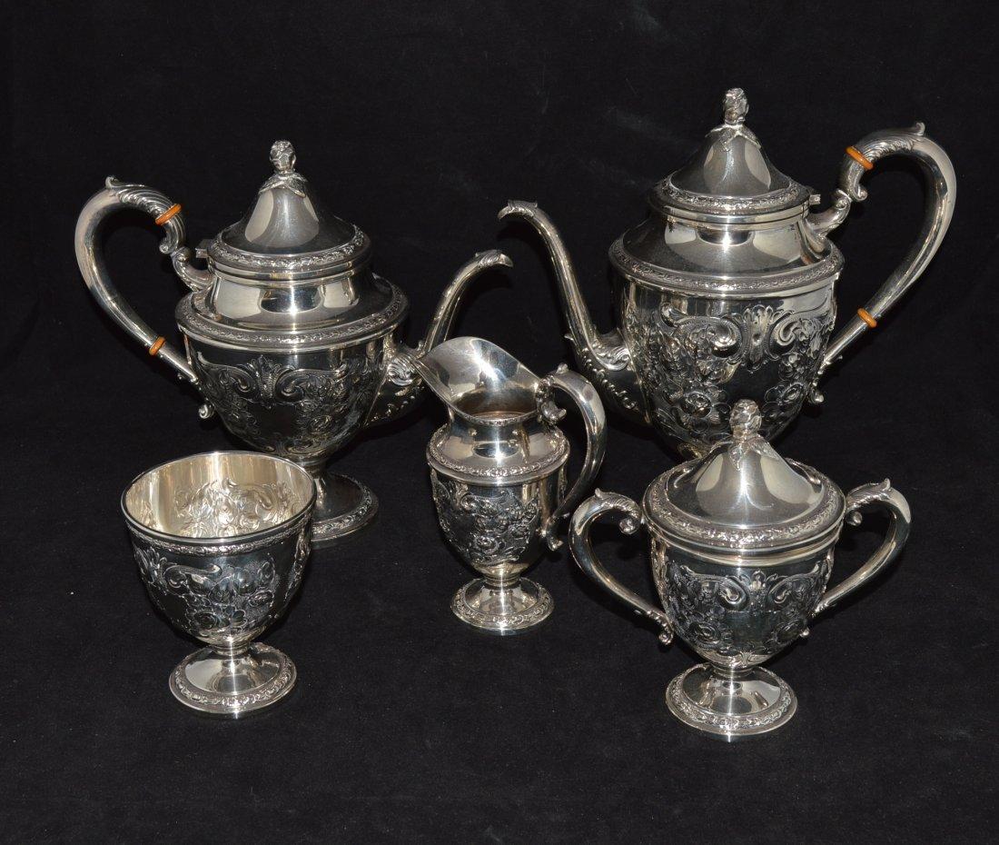 FIVE PIECE AMERICAN SILVER TEA AND COFFEE  SERVICE