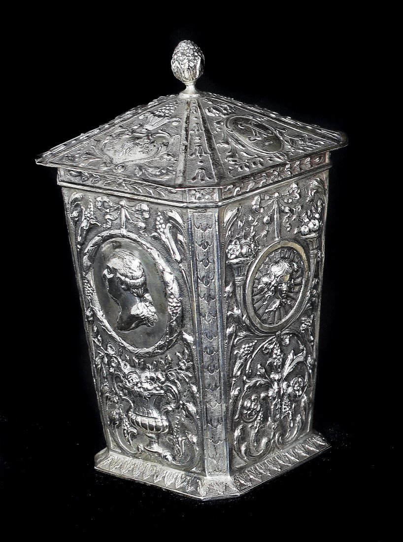 CONTINENTAL SILVER TEA CADDY AND COVER