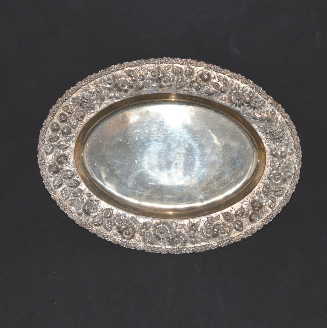 AMERICAN SILVER GILT SERVING TRAY (1908-1915)