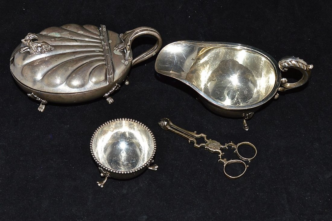 GROUP OF FOUR ASSORTED SILVERED ARTICLES