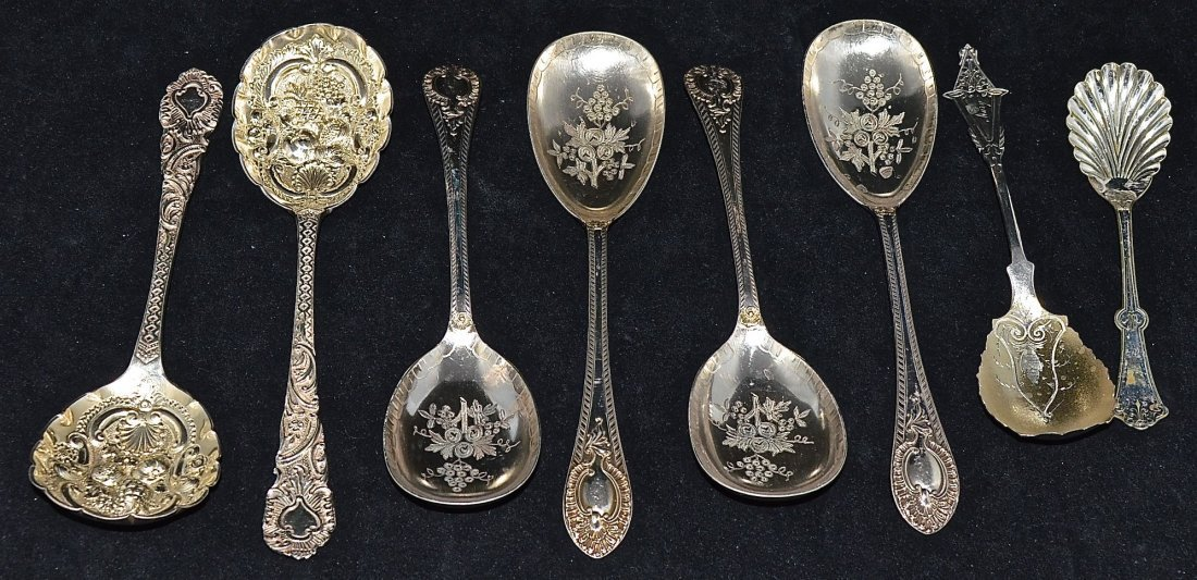 8 PIECES:PAIR ENGLISH GILT-SILVER  BERRY SPOONS(1895-6)