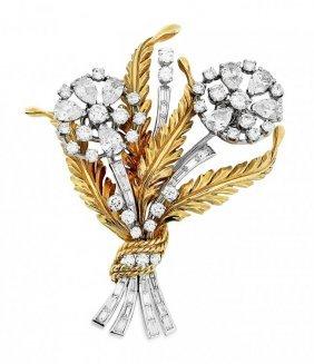 Vintage Diamond Flower Brooch, Platinum & 18 Kt
