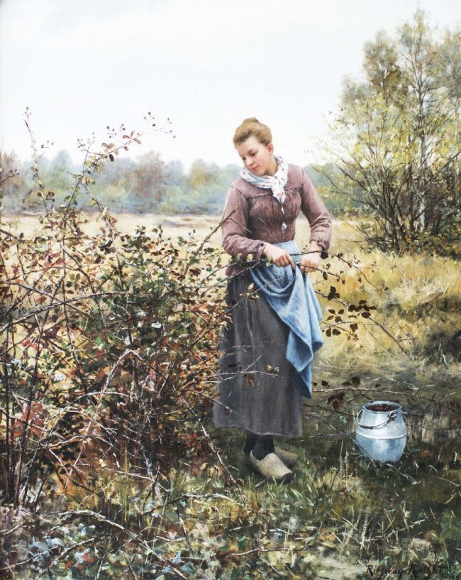 "DANIEL RIDGWAY KNIGHT (1839-1924) ""AUTUMN HARVEST"""