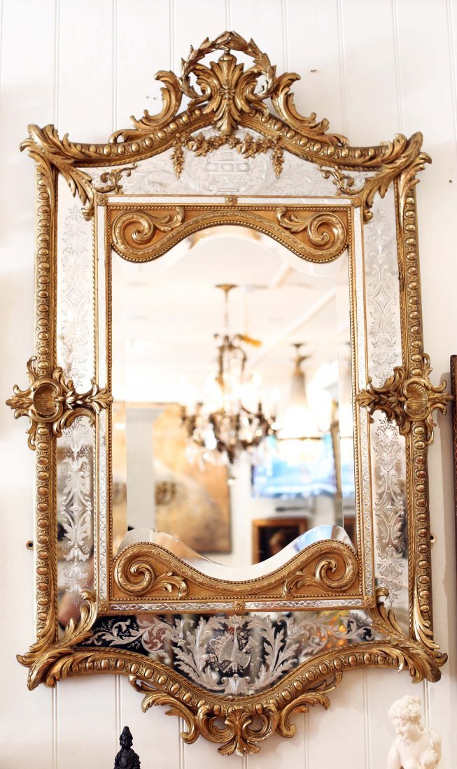 Louis XVI Style Carved Gilt wood Mirror, French, 19th C