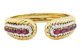 18 KARAT GOLD RUBY AND DIAMOND TRIO BANGLEBRACELET