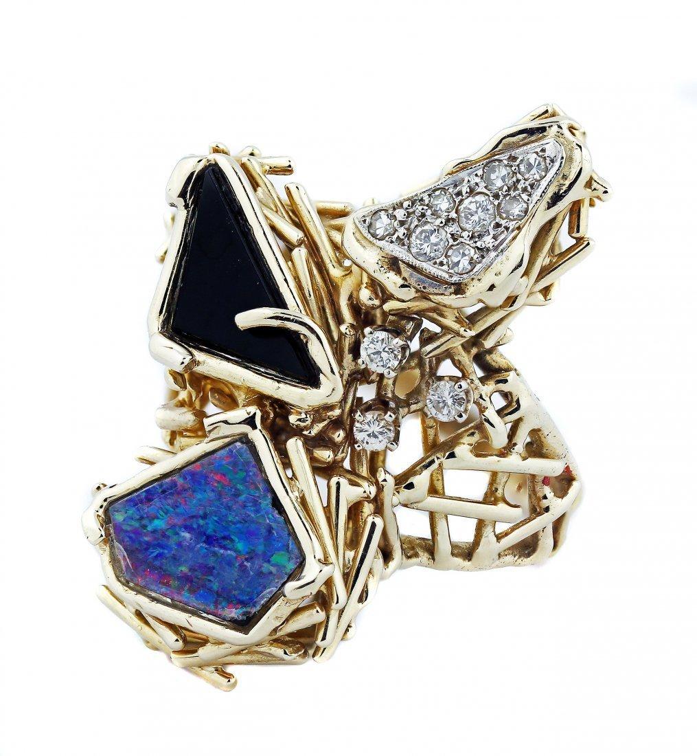 UNUSUAL 14 Karat Gold Opal, Onyx,and Diamond Ring