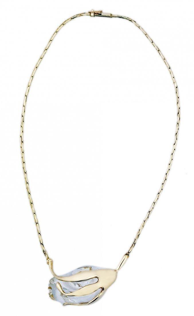 STEUBEN, 14 Karat Gold Rosebud glass necklace