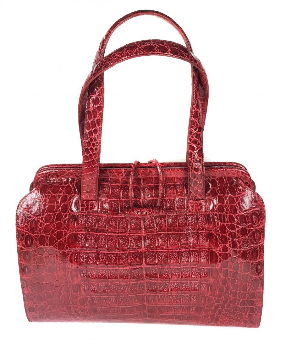 NANCY GONZALEZ RED CROCODILE DOUBLE STRAP FRAME BAG
