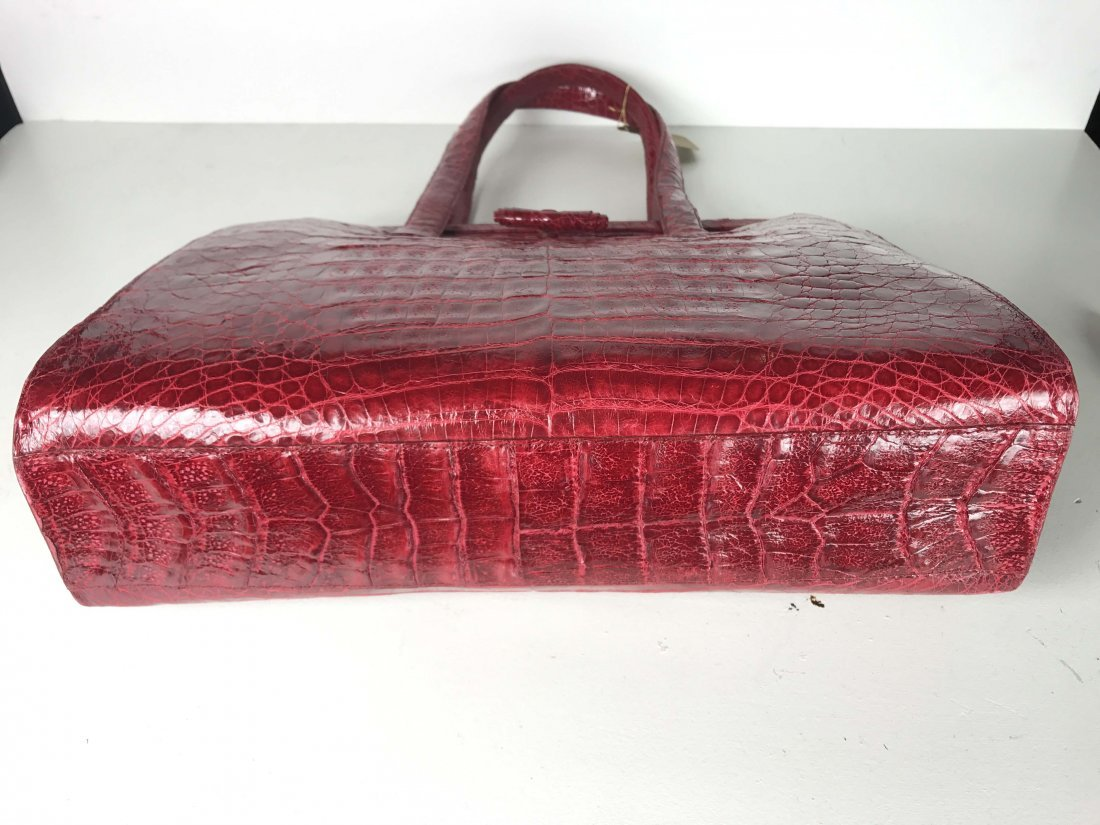NANCY GONZALEZ RED CROCODILE DOUBLE STRAP FRAME BAG - 2