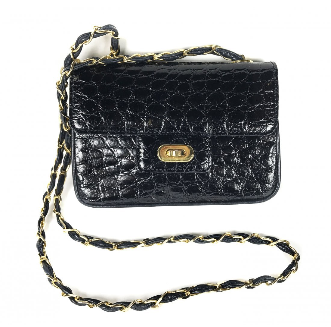 ALLIGATOR SMALL  BLACK HANDBAG WITH CHAIN STRAP