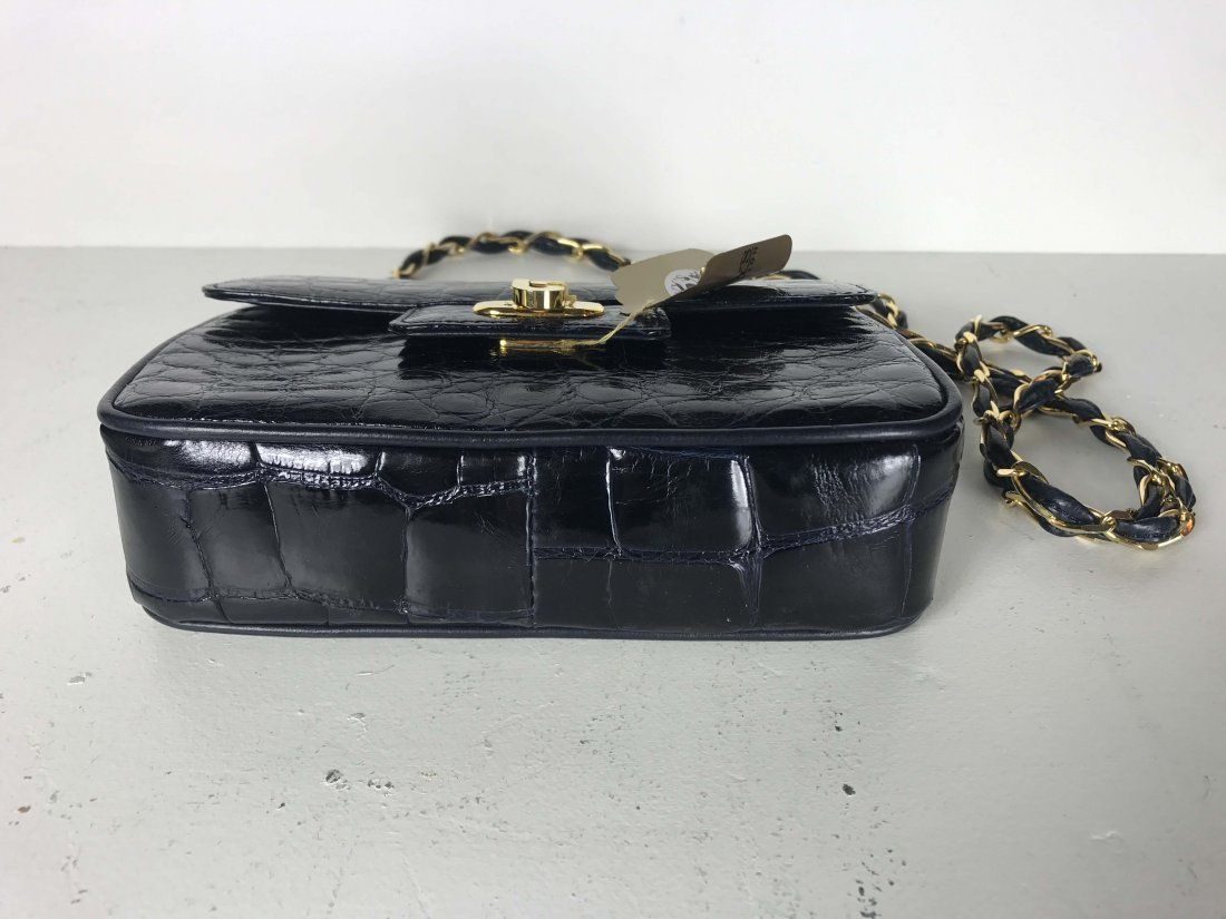 ALLIGATOR SMALL  BLACK HANDBAG WITH CHAIN STRAP - 2