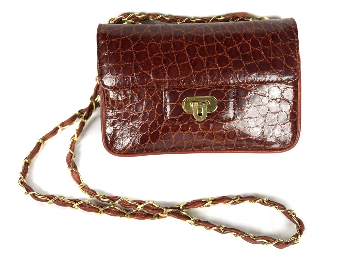 ALLIGATOR SMALL  BROWN  HANDBAG WITH CHAIN STRAP