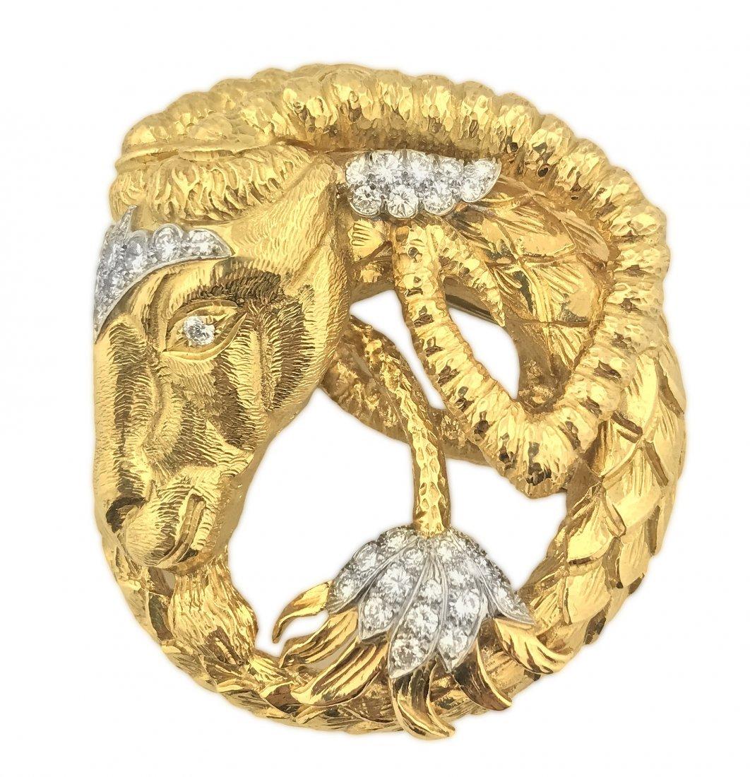 FINE 18 KT GOLD & PLATINUM DIAMOND BROOCH, DAVID WEBB
