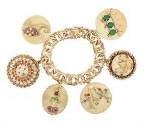 Semi Precious Stone Charm Bracelet