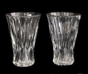 Baccarat, Two Large Clear And Frosted Glass Vases