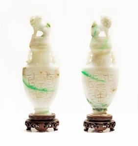 A Pair Of Jade Vases And Covers