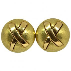 Paloma Picasso For Tiffany & Co. Gold Disc Earrings