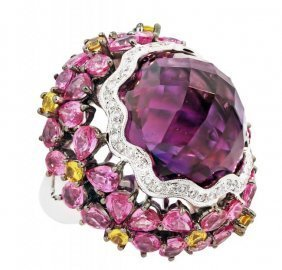 Amethyst, Diamond, Pink And Yellow Sapphire Ring