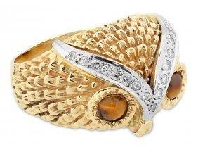 "Tiger Eye And Diamond ""owl"" Ring"
