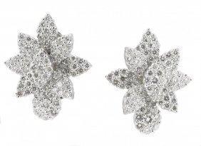 18k White Gold And Diamond Earclips Sabbadini