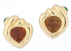 Pair Of Carved Citrine And Cabochon Emerald Earclips