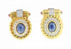 Pair Of Cabochon Sapphire And Diamond Earclips