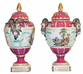 Fine Pair Of 19th Century Porcelain Vases, Berlin
