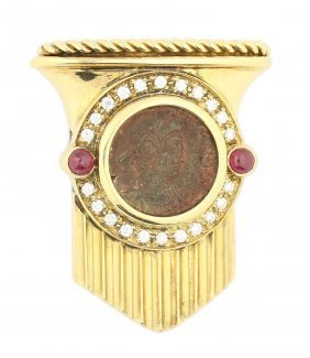 Antique Coin And Diamond Brooch