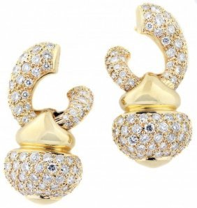 Pair Of 18kt Gold And Diamond Earrings