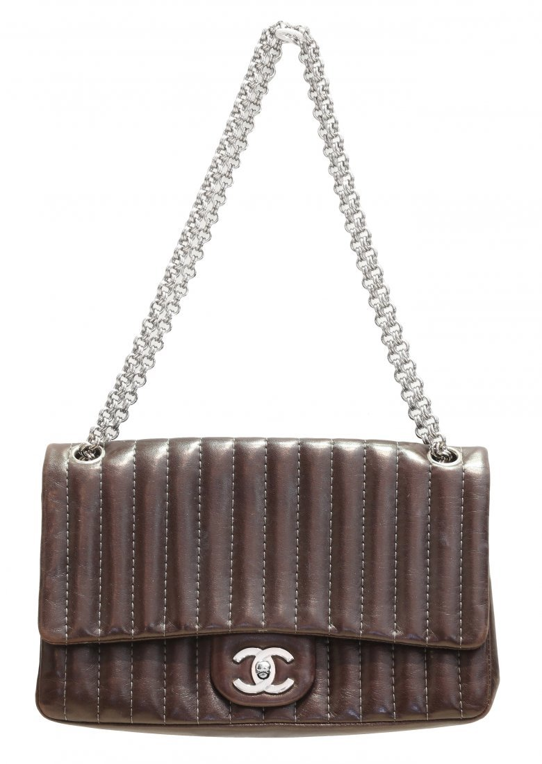 CHANEL, BROWN LEATHER