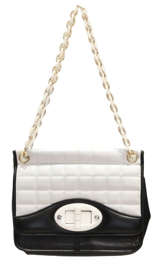 CHANEL, TWO TONE,BLACK AND WHITE LEATHER