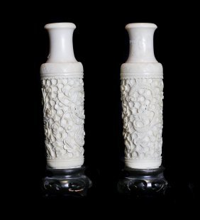 Small Pair Ivory Vases