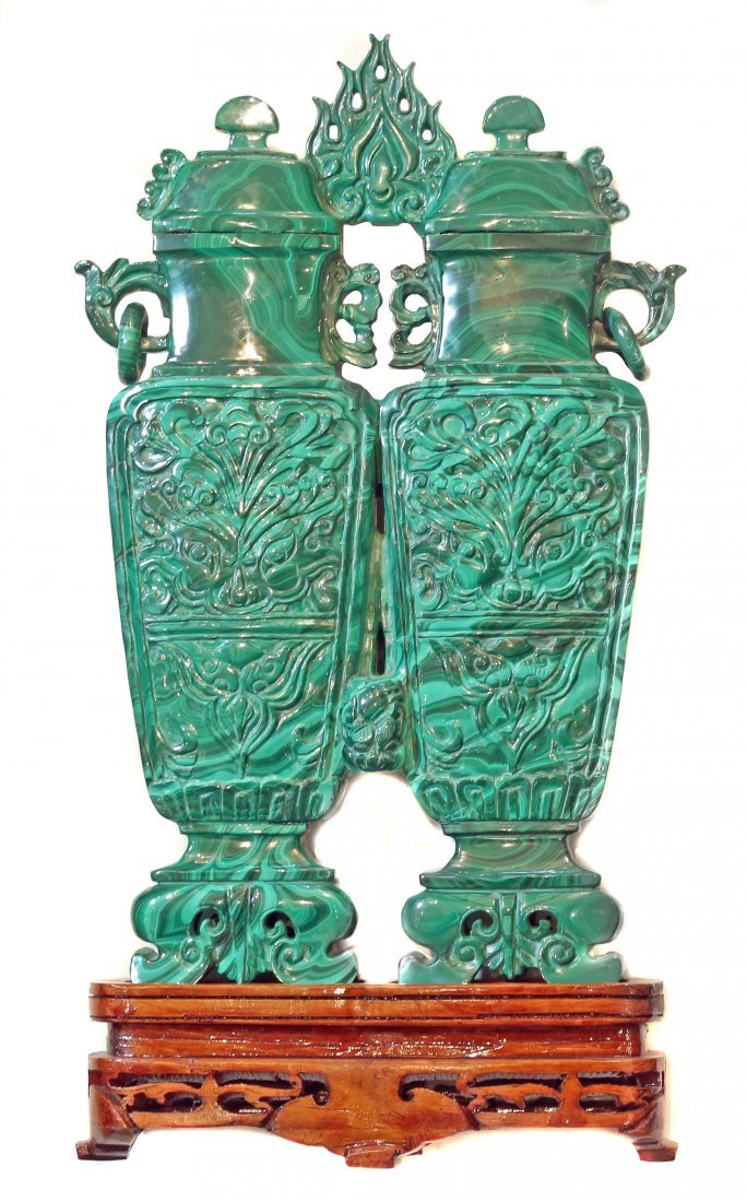 """LARGE MALACHITE """"DOUBLE VASE""""  WITH COVER , CHINESE"""