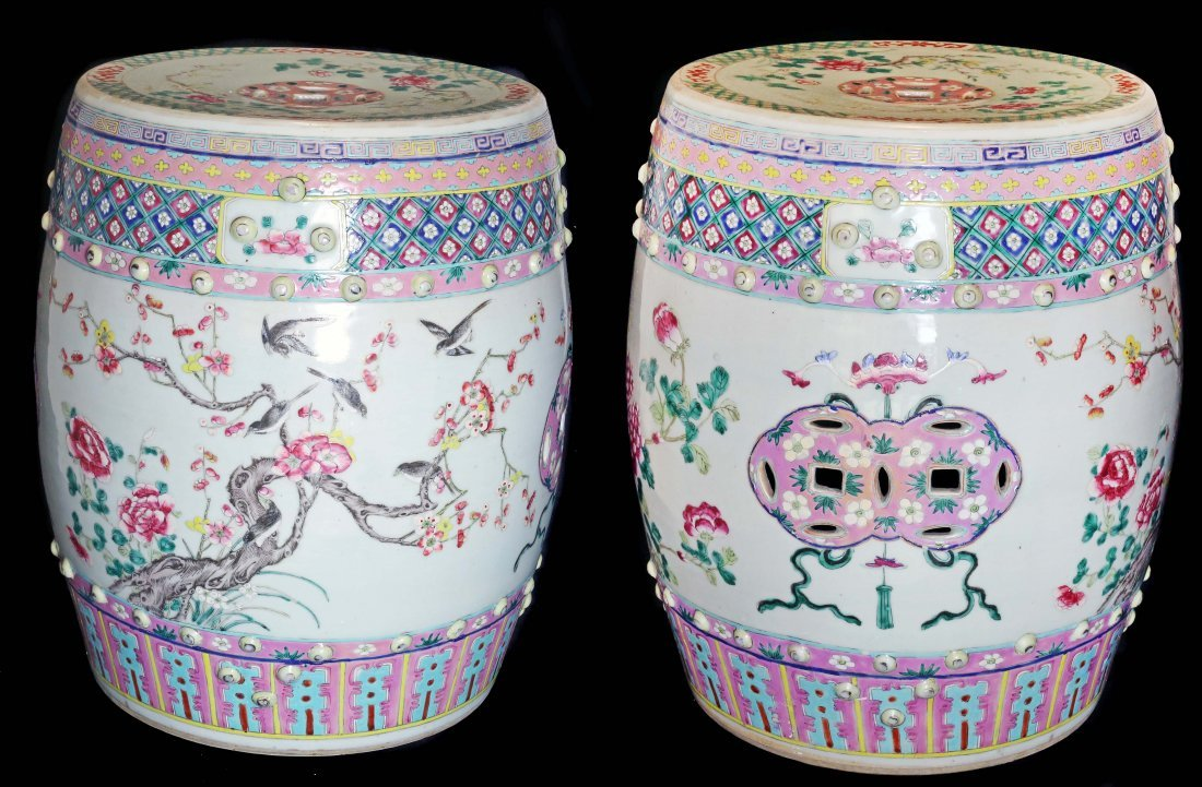 Pair of Canton 'Famille-Rose' Garden Seats, Chinese