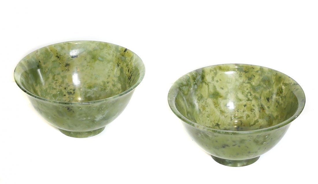 PAIR OF CARVED SERPENTINE BOWLS, CHINESE