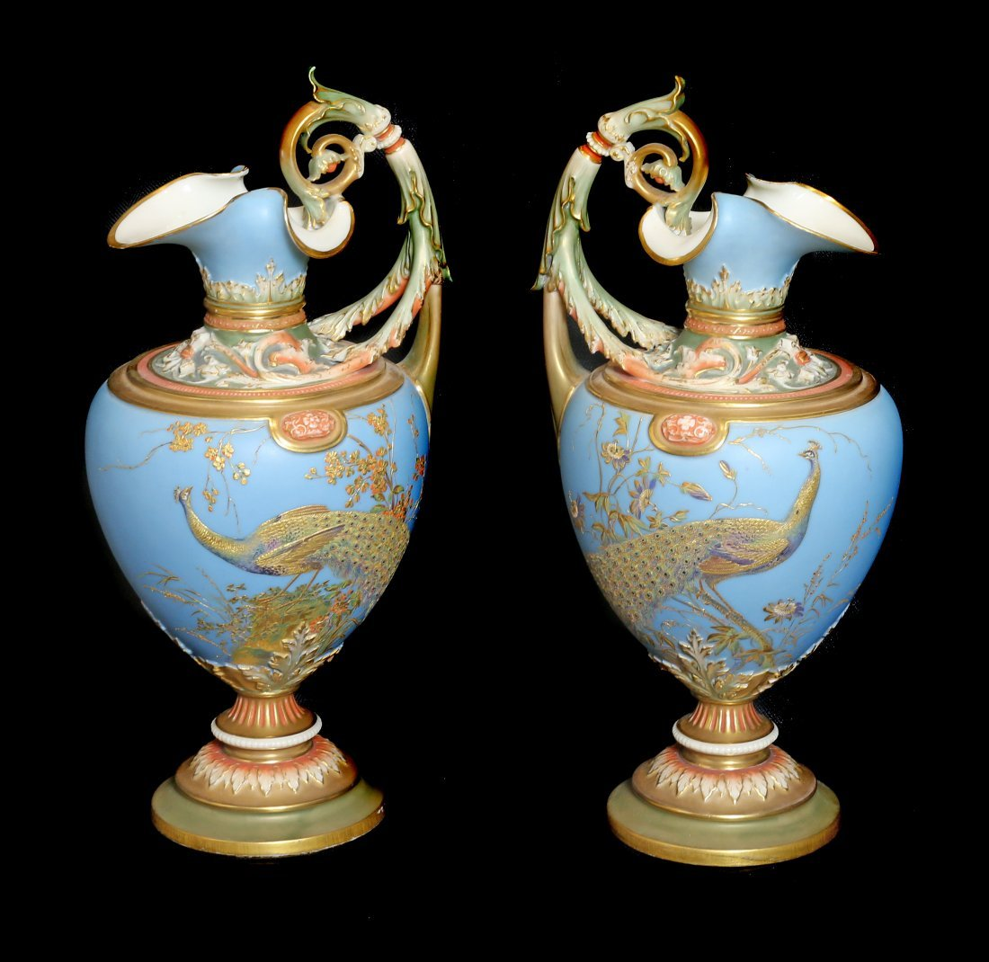 VERY FINE PAIR ROYAL WORCESTER PORCELAIN EWERS