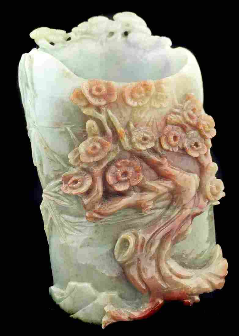 A PALE GREEN JADE BRUSH POT, CHINESE