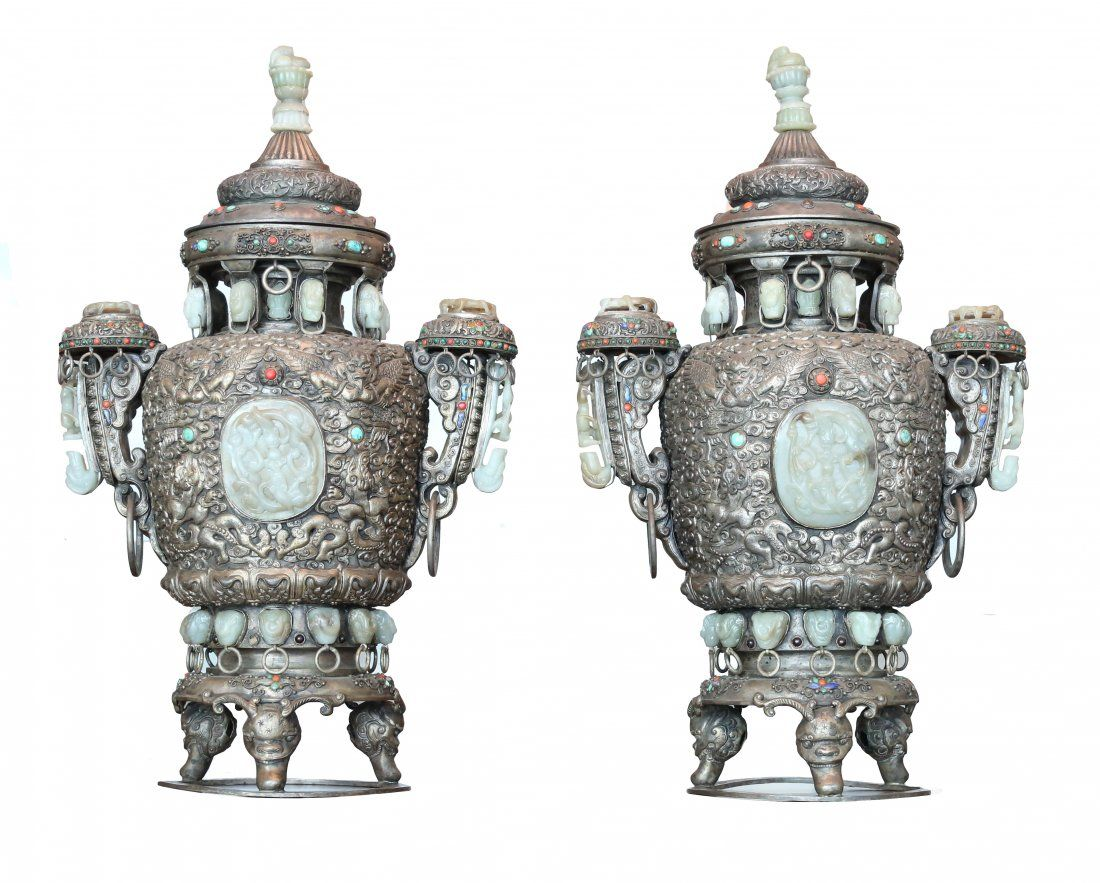 PAIR LARGE MONGOLIAN-STYLE JADE INLAID CENSORS, CHINESE