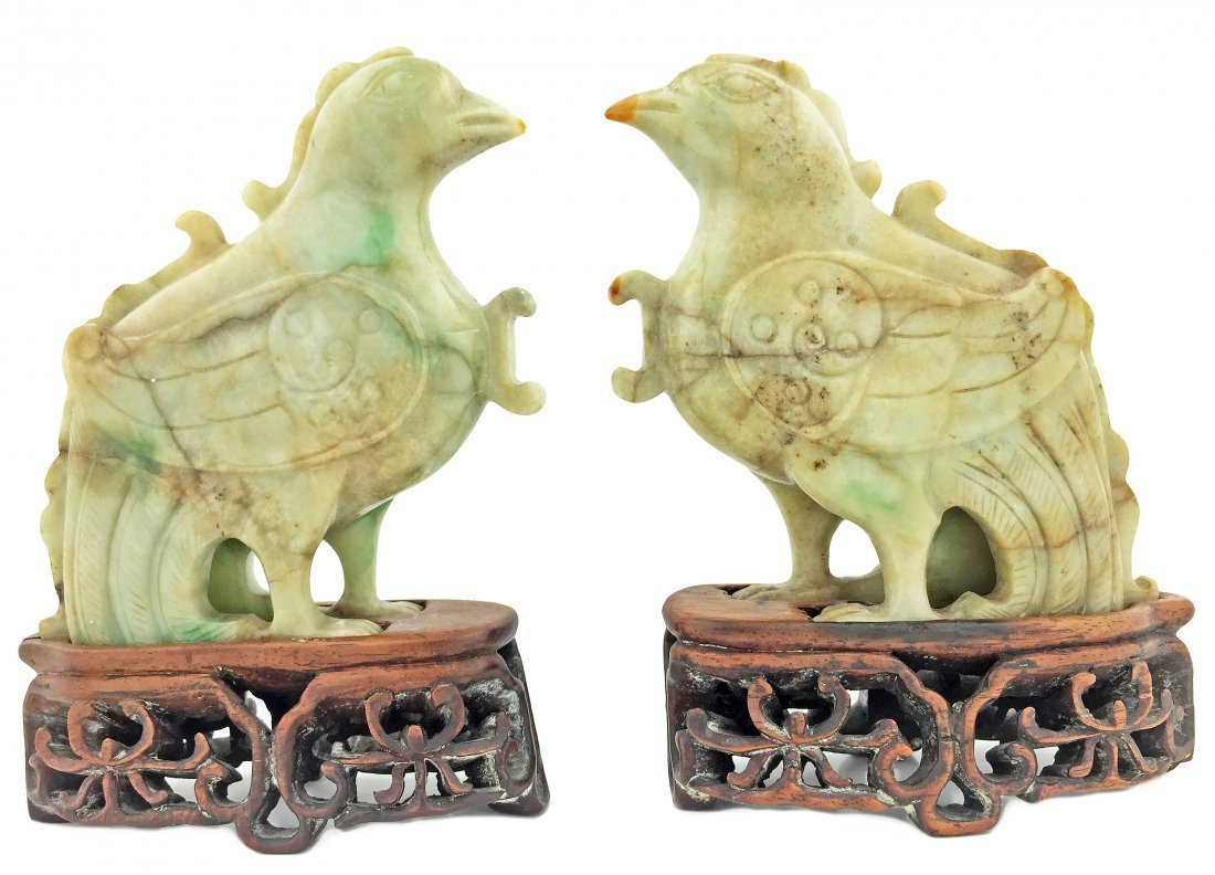 FINE PAIR OF JADE FIGURES OF MYTHICAL BIRDS, CHINESE