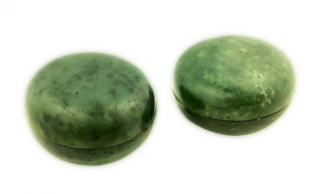 FINE PAIR GREEN JADE BOX AND COVERS, CHINESE