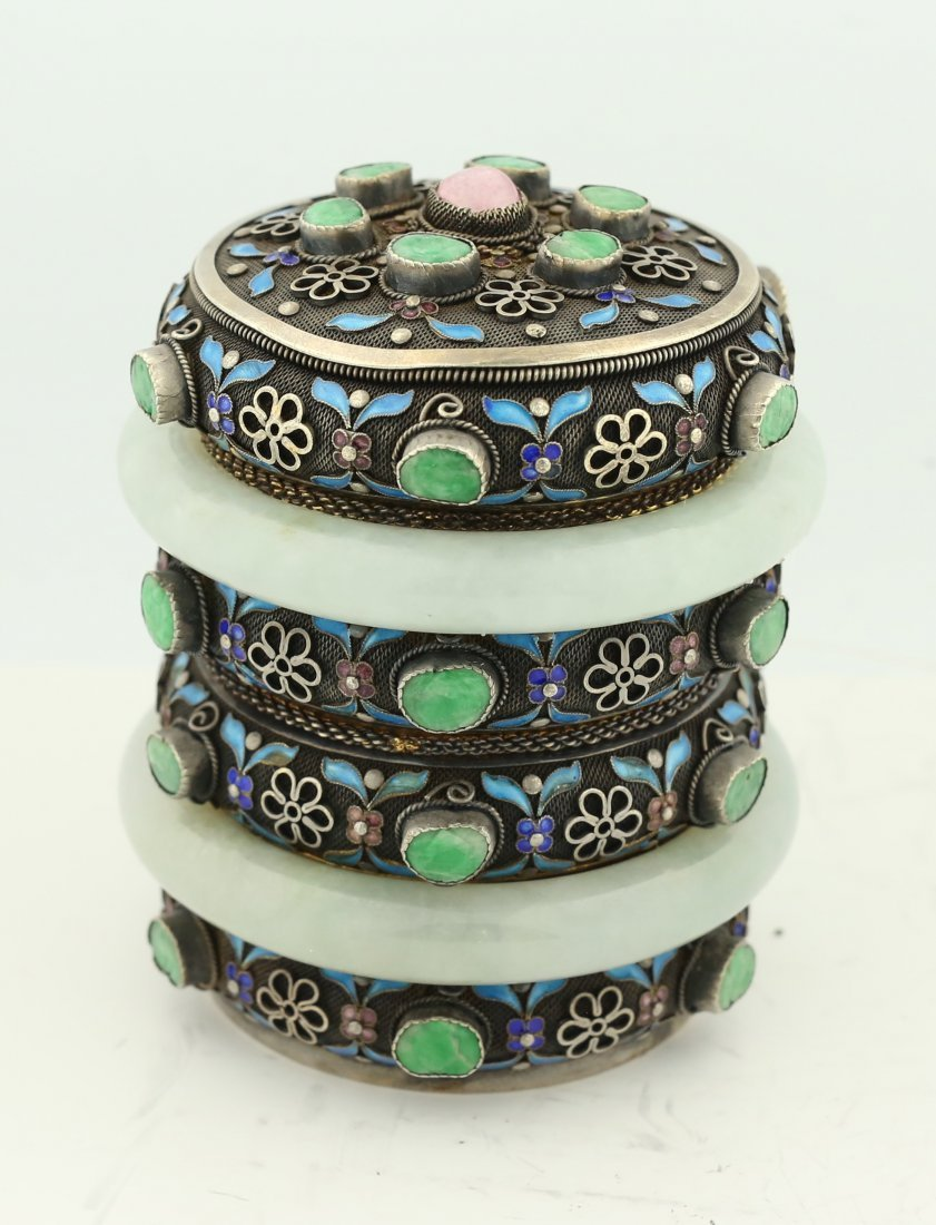 FINE CHAMPLEVE , SILVER AND JADE BOX AND COVER