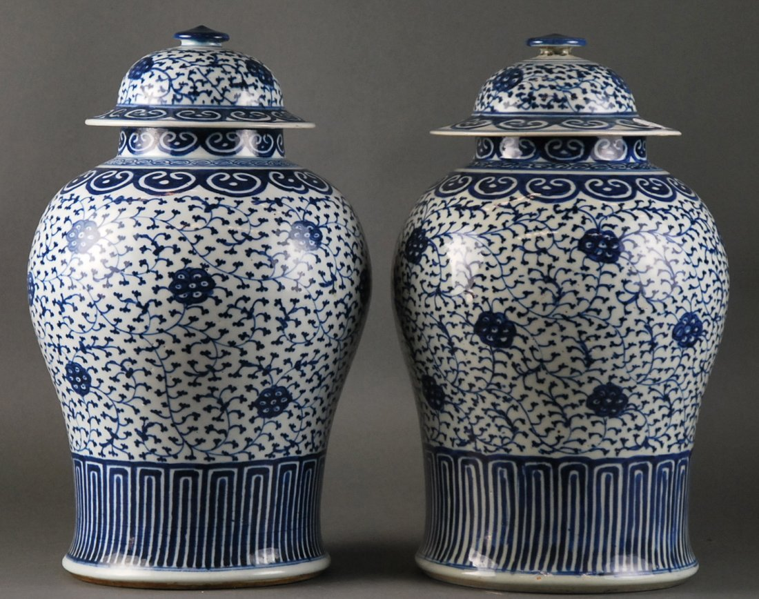 FINE PAIR BLUE AND WHITE GINGER JARS CHINESE