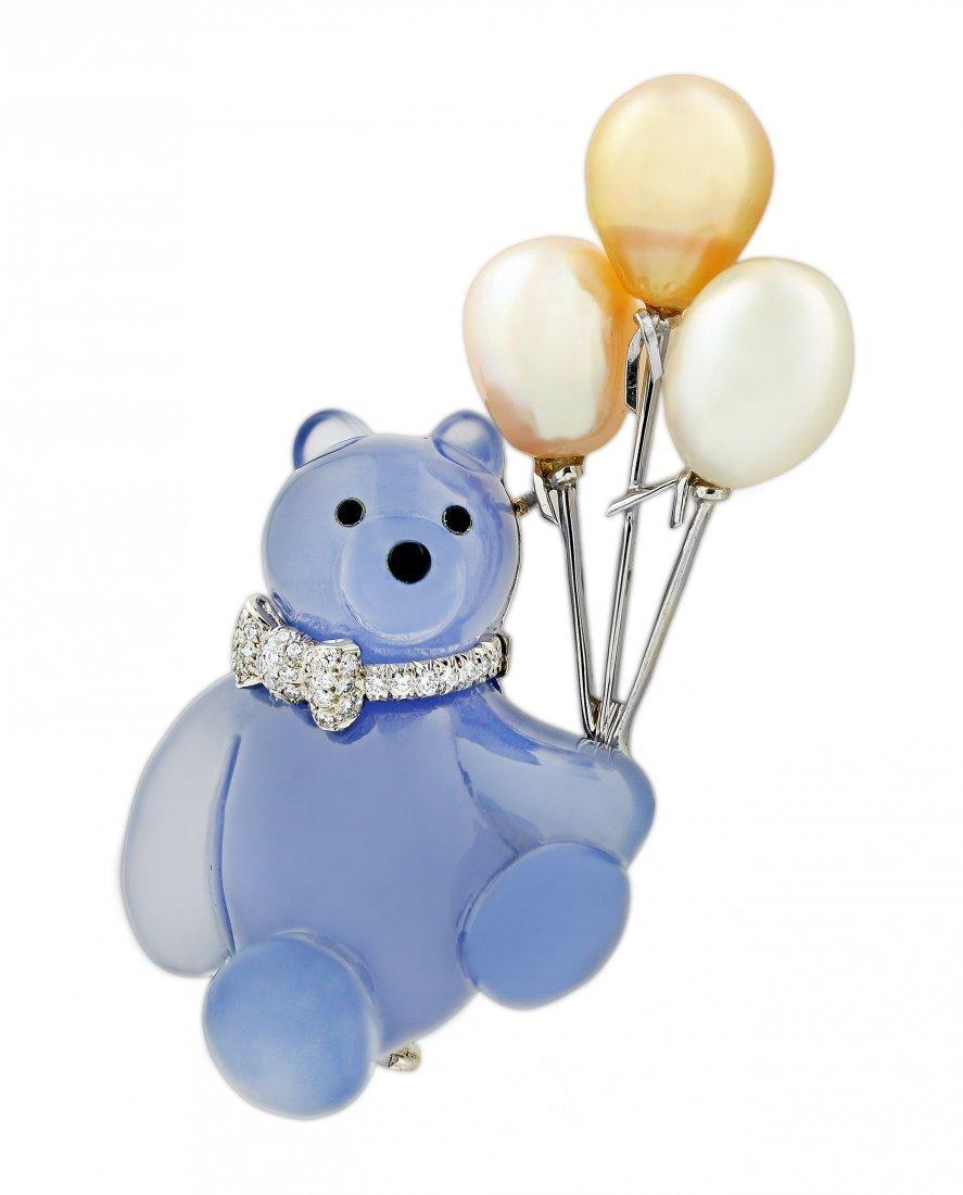 BLUE CHALCEDONY, DIAMOND AND PEARL 'BEAR' BROOCH