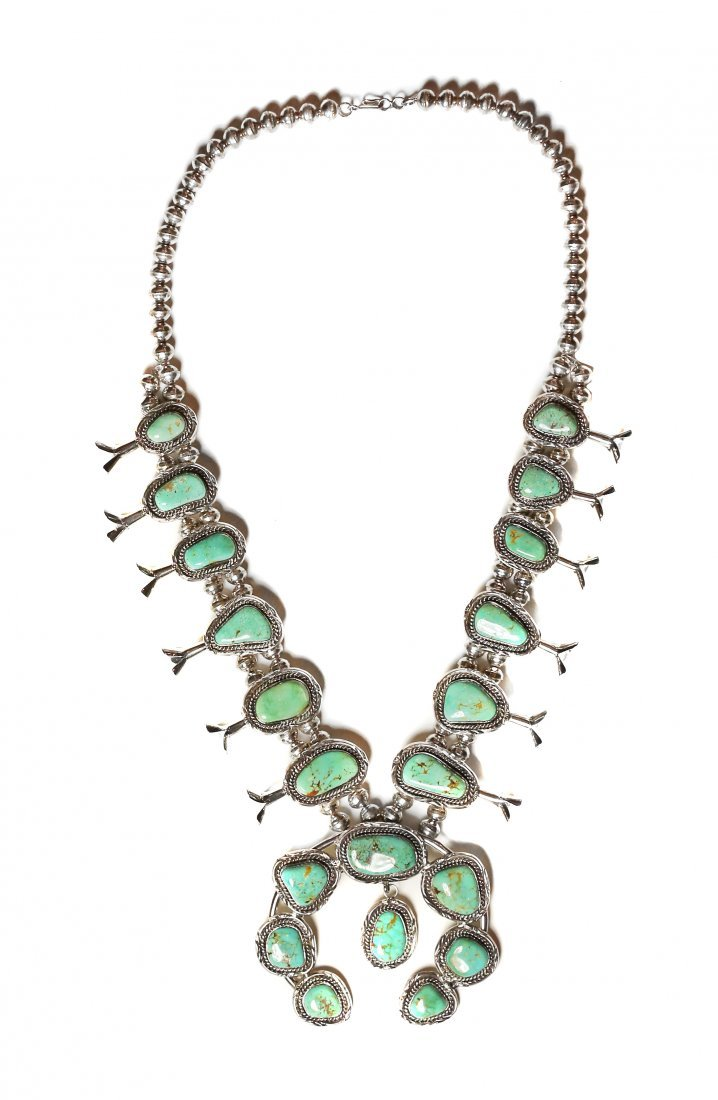 NATIVE AMERICAN NAVAJO SQUASH BLOSSOM NECKLACE