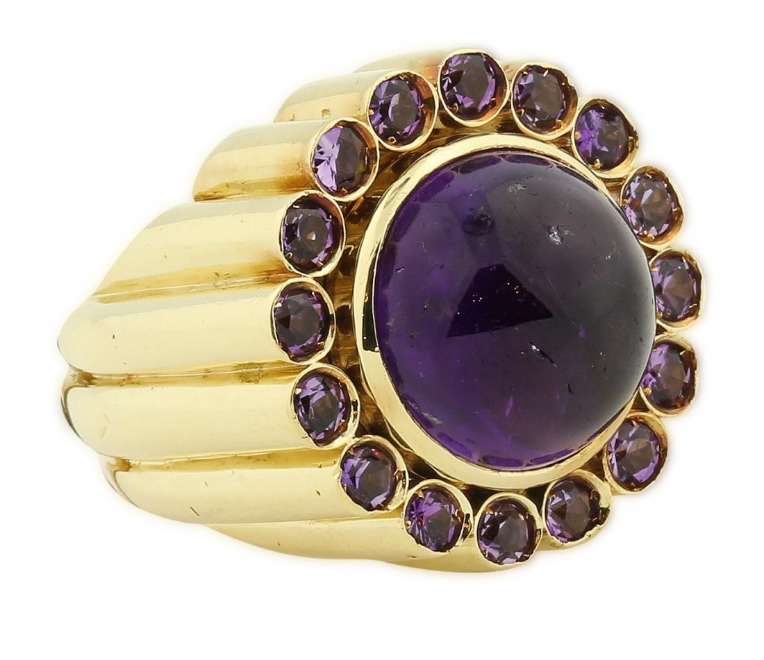 LARGE AND FINE 18KT GOLD AMETHYST RING