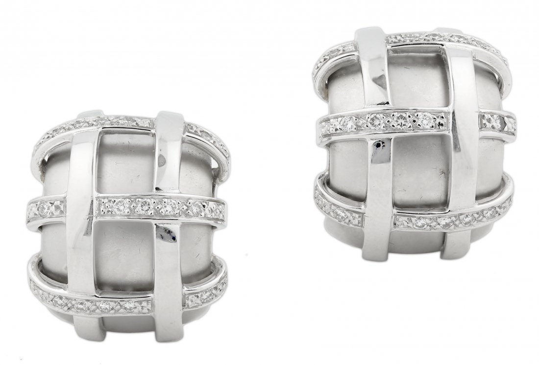18KT WHITE GOLD AND DIAMOND EAR CLIPS