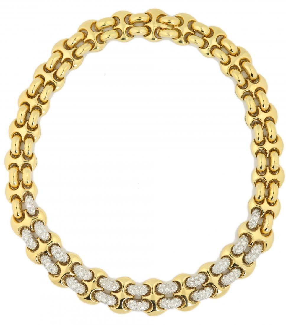 Fine 18 Karat Gold and Diamond Necklace