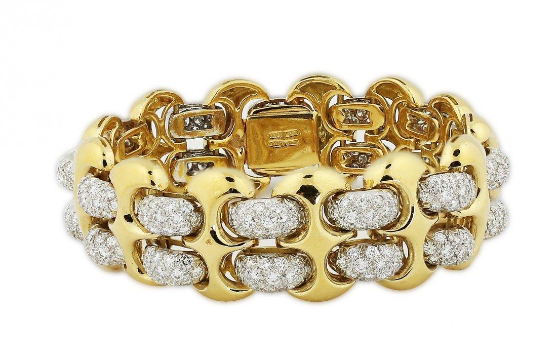 FINE 18 KARAT GOLD AND DIAMOND BRACELET