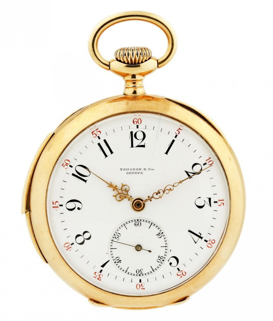 TOUCHON, A GOLD OPEN FACED MINUTE REPEATING WATCH