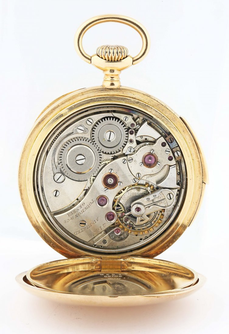 TOUCHON, A GOLD OPEN FACED MINUTE REPEATING WATCH - 3